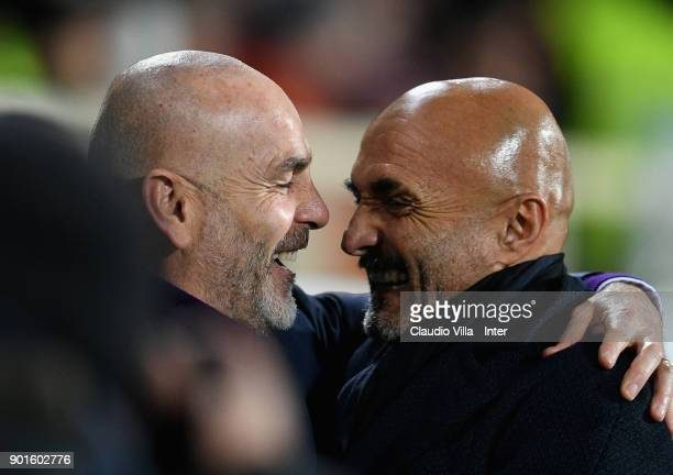 Head coach FC Internazionale Luciano Spalletti and head coach AFC Fiornetina Stefano Pioli chat prior to the serie A match between ACF Fiorentina and...