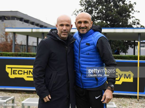 Head coach FC Internazionale Luciano Spalletti and head coach Italy U19 Luigi Di Biagio pose for a photo during a training session at the club's...