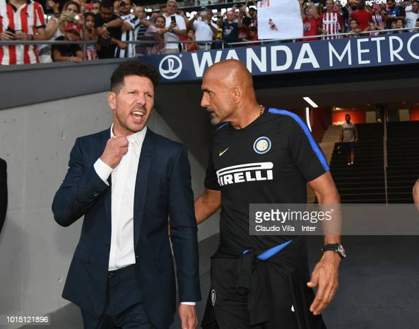 Head coach FC Internazionale Luciano Spalletti and Head coach Atletico Madrid Diego Simeone chat during the International Champions Cup 2018 match...