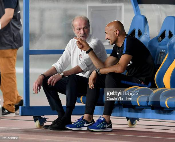 Head coach FC Internazionale Luciano Spalletti and Walter Sabatini chat prior to the 2017 International Champions Cup match between FC Internazionale...