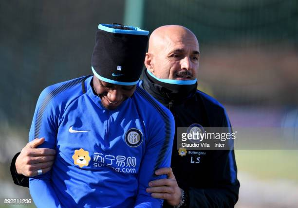 Head coach FC Internazionale Luciano Spalletti and Yann Karamoh chat during the FC Internazionale training session at Suning Training Center at...