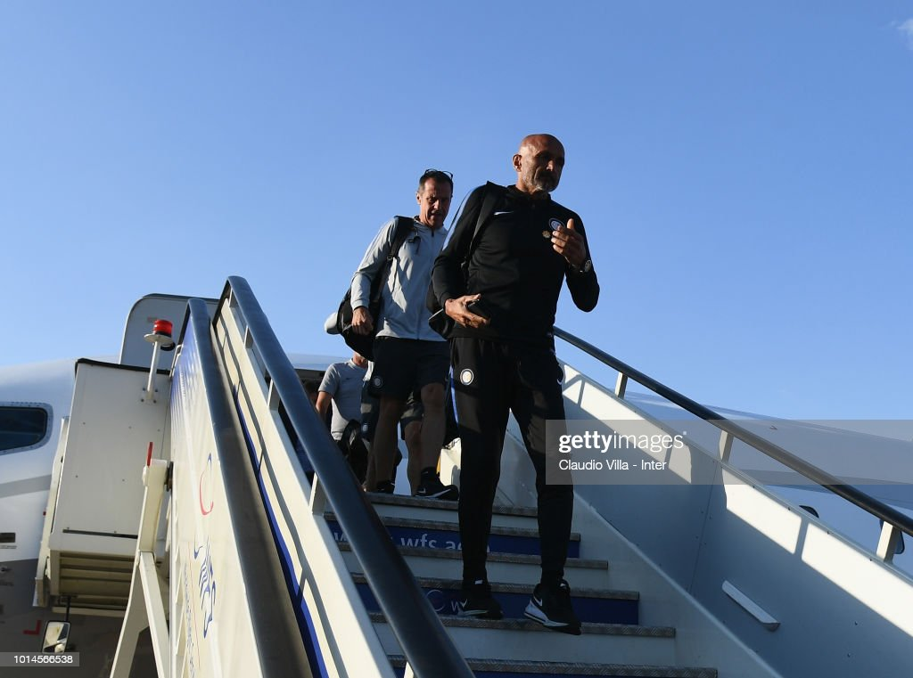 Head coach FC Internazionale Luciano Spalletti arrives at Madrid-Barajas Airport on August 10, 2018 in Madrid, Spain.