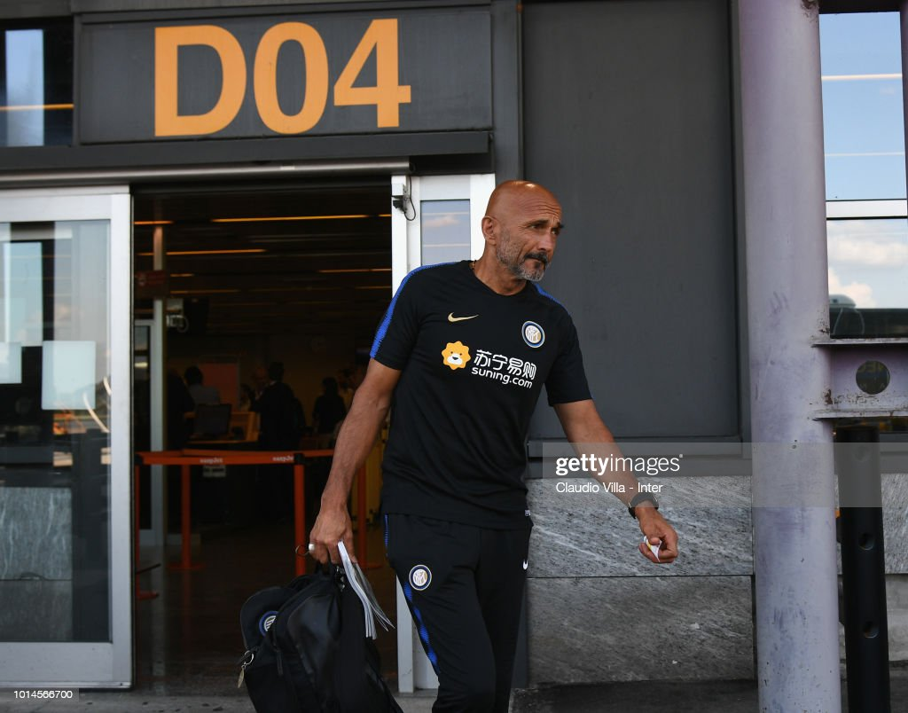 Head coach FC Internazionale Luciano Spalletti departs from Malpensa Airport on August 10, 2018 in Milan, Italy.