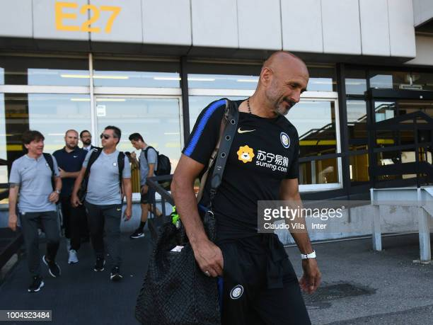 Head coach FC Internazionale Luciano Spalletti departs to Sheffield at Malpensa Airport on July 23 2018 in Milan Italy