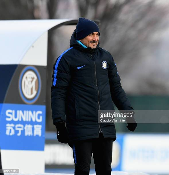 Head coach FC Internazionale Luciano Spalletti looks on during the FC Internazionale training session at Suning Training Center at Appiano Gentile on...
