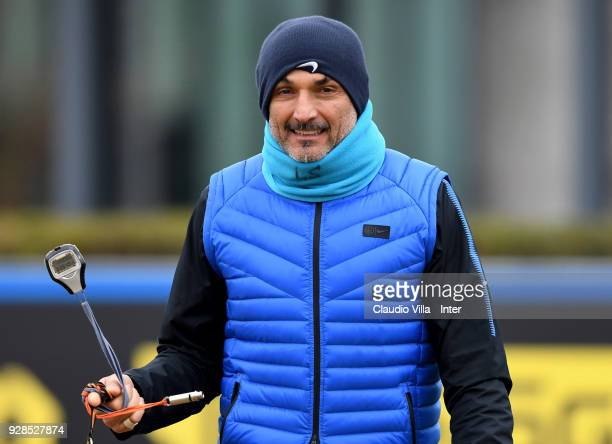 Head coach FC Internazionale Luciano Spalletti looks on during the FC Internazionale training session at the club's training ground Suning Training...