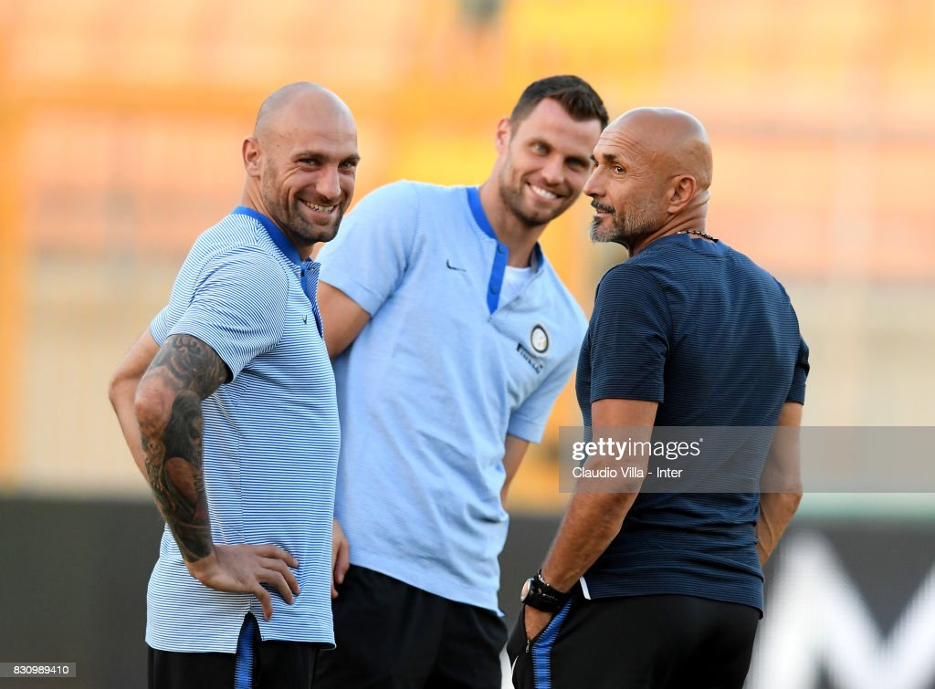 Head coach FC Internazionale Luciano Spalletti (R) looks on prior to the Pre-Season Friendly match between FC Internazionale and Real Betis at Stadio Via del Mare on August 12, 2017 in Lecce, Italy.