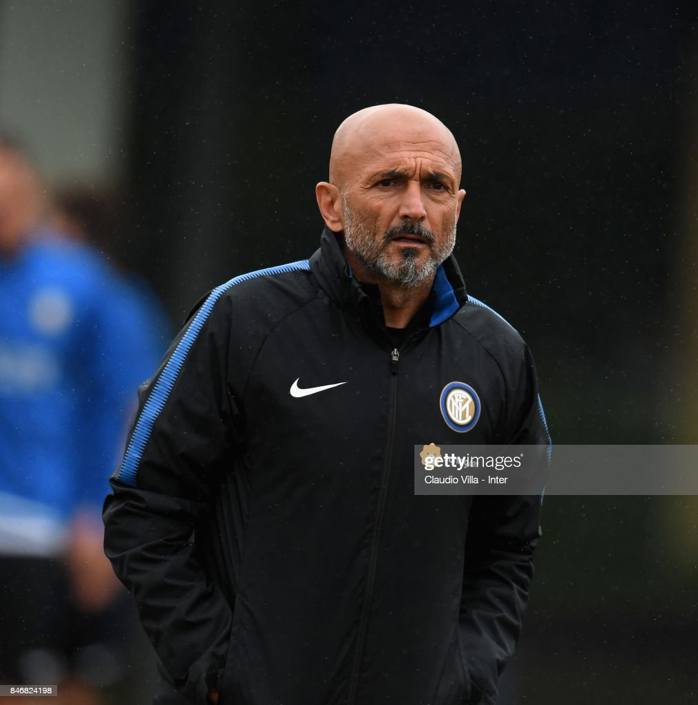 Head coach FC Internazionale Luciano Spalletti reacts during a training session at Suning Training Center at Appiano Gentile on September 14, 2017 in Como, Italy.