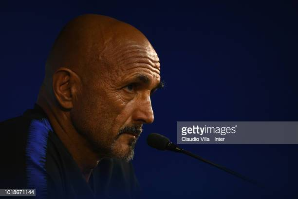 Head coach FC Internazionale Luciano Spalletti reacts during a press conference at the club's training ground Suning Training Center in memory of...