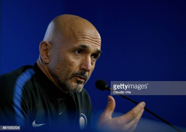 Head coach FC Internazionale Luciano Spalletti speaks with a media during as FC Interrnazionale press conference at Appiano Gentile on December 22...