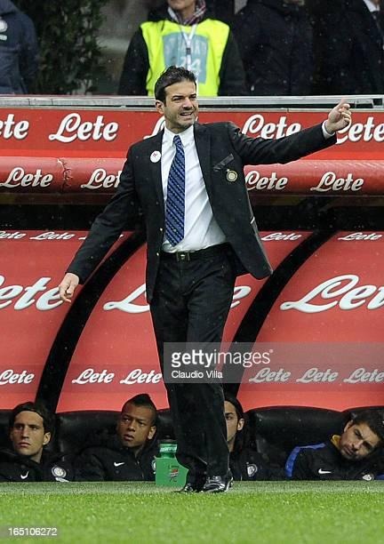 Head coach FC Internazionale Milano Andrea Stramaccioni reacts during the Serie A match between FC Internazionale Milano and Juventus FC at San Siro...