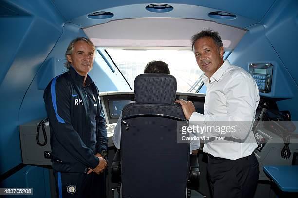 Head coach FC Internazionale Roberto Mancini and head coach AC Milan Sinisa Mihajlovic on the train Frecciarossa 1000 on August 12 2015 in Reggio...