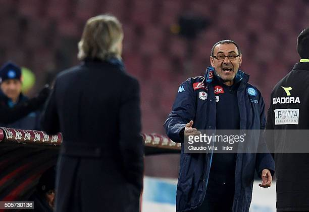 Head coach FC Internazionale Roberto Mancini and head coach SSC Napoli Maurizio Sarri react during the TIM Cup match between SSC Napoli and FC...