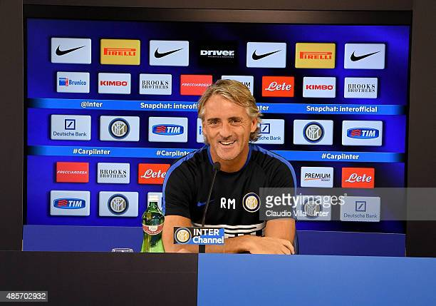 Head coach FC Internazionale Roberto Mancini speaks to the media during a press conference at the club's training ground at Appiano Gentile on August...