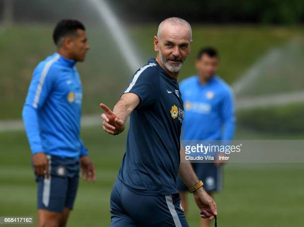 Head coach FC Internazionale Stefano Pioli reacts during FC Internazionale training session at Suning Training Center at Appiano Gentile on April 14...