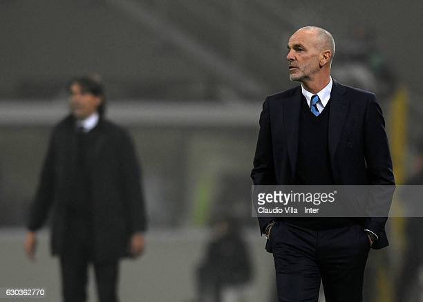 Head coach FC Internazionale Stefano Pioli reacts during the Serie A match between FC Internazionale and SS Lazio at Stadio Giuseppe Meazza on...