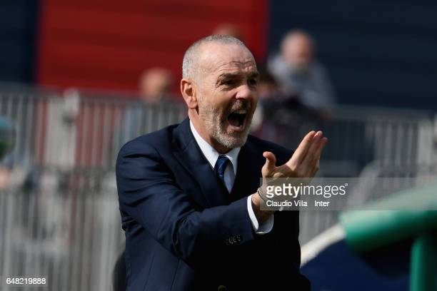 Head coach FC Internazionale Stefano Pioli reacts during the Serie A match between Cagliari Calcio and FC Internazionale at Stadio Sant'Elia on March...