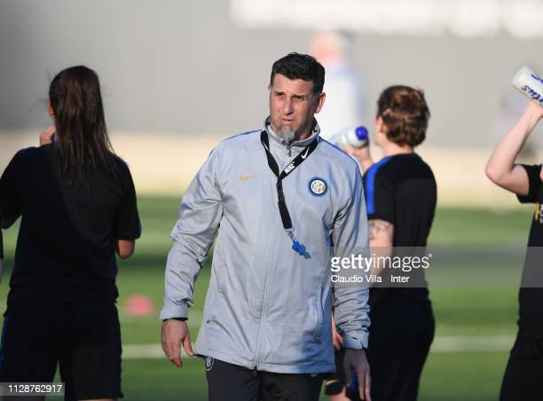Head coach FC Internazionale Women Sebastian De La Fuente looks on during a training session at Suning Youth Development Centre in memory of Giacinto...