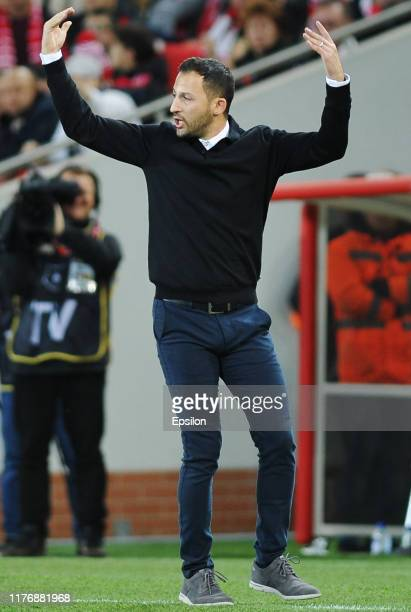 Head coach FC Spartak Moscow Domenico Tedesco reacts during the Russian Premier League match between FC Spartak Moscow and FC Rubin Kazan on October...