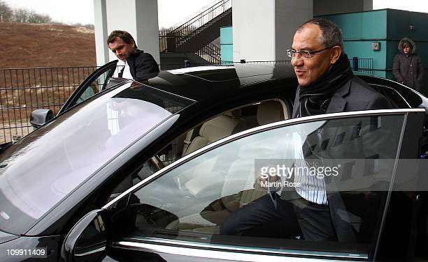 Head coach Felix Magath leaves the training ground after a FC Schalke 04 training session at Schalke training ground on March 10, 2011 in...