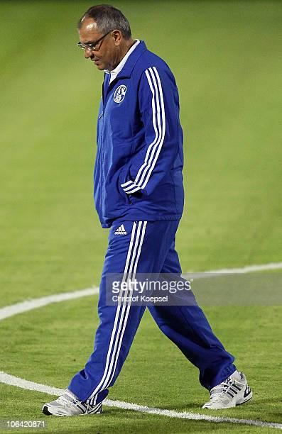 Head coach Felix Magath of Schalke looks thoughtful during a FC Schalke 04 training session ahead of the UEFA Champions League match against Hapoel...