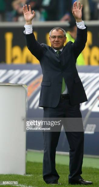 Head coach Felix Magath of Wolfsburg celebrates the 51 victory after the Bundesliga match between VfL Wolfsburg and FC Bayern Munich at the...