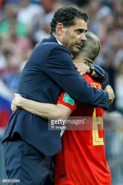 Head coach Fernando Hierro of Spain and Andres Iniesta of Spain looks dejected after the 2018 FIFA World Cup Russia match between Spain and Russia at...