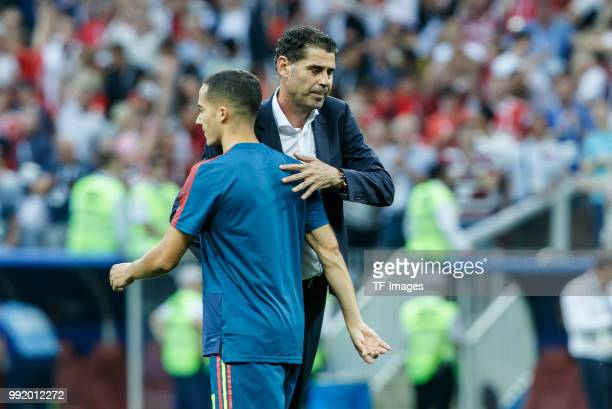 Head coach Fernando Hierro of Spain and Iago Aspas of Spain looks dejected after the 2018 FIFA World Cup Russia match between Spain and Russia at...