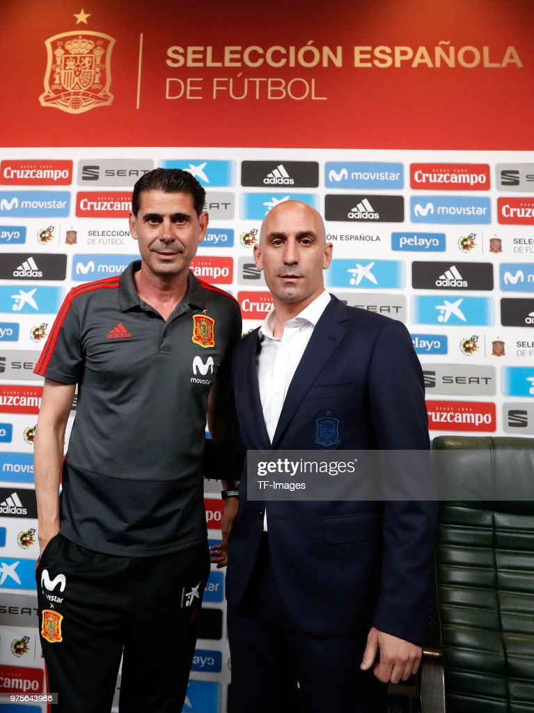 Head coach Fernando Hierro of Spain and RFEF president Luis Rubiales of Spain attend the press conference prior to a training session on June 13, 2018 in Krasnodar, Russia.