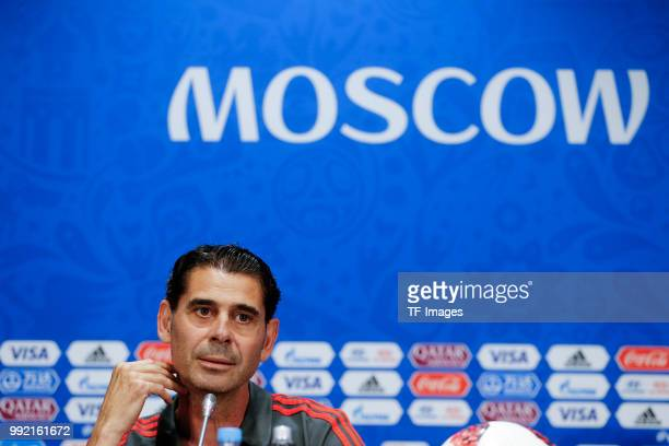 Head coach Fernando Hierro of Spain attends the press conference prior to a training session on June 30 2018 in Moscow Russia