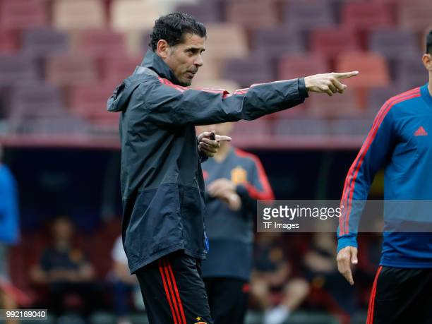 Head coach Fernando Hierro of Spain gestures during a training session on June 30 2018 in Moscow Russia