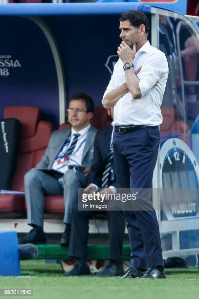 Head coach Fernando Hierro of Spain gestures during the 2018 FIFA World Cup Russia match between Spain and Russia at Luzhniki Stadium on July 01 2018...