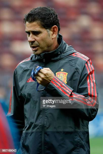 Head coach Fernando Hierro of Spain looks on during a training session on June 30 2018 in Moscow Russia
