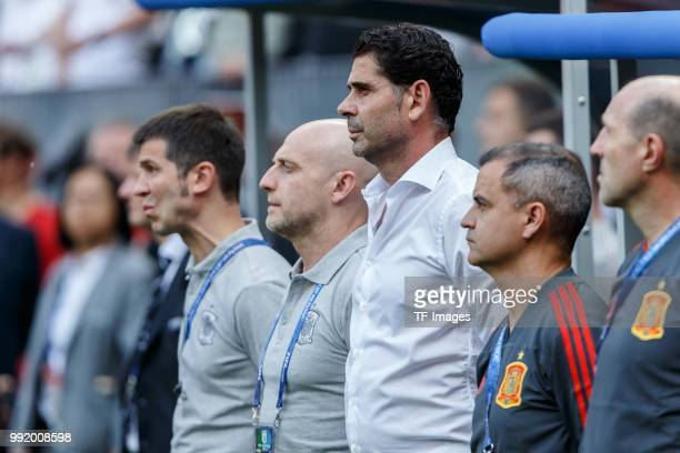 Head coach Fernando Hierro of Spain looks on prior to the 2018 FIFA World Cup Russia match between Spain and Russia at Luzhniki Stadium on July 01...