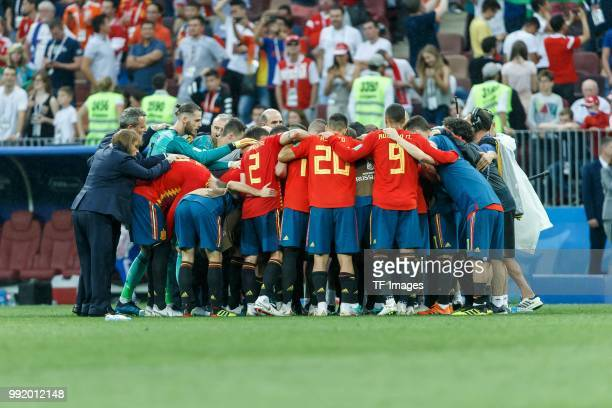 Head coach Fernando Hierro of Spain speaks to his team during the 2018 FIFA World Cup Russia match between Spain and Russia at Luzhniki Stadium on...