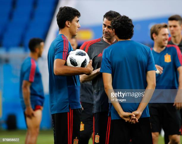 Head coach Fernando Hierro Rodrigo and Jesus Vallejo of Spain talk during a training session at Fisht Stadium on June 14 2018 in Sochi Russia