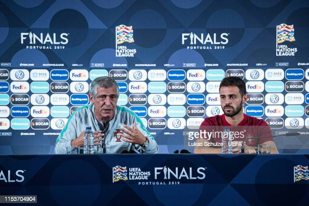 Head Coach Fernando Santos and Bernardo Silva attend the press conference of Portugal ahead of the Nations League Semi-Final against Switzerland on...