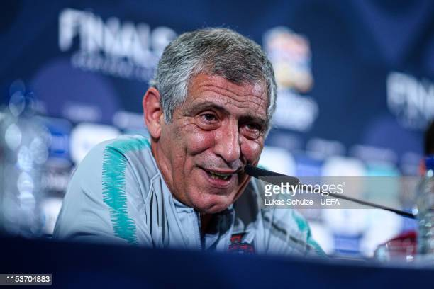 Head Coach Fernando Santos attends the press conference of Portugal ahead of the Nations League Semi-Final against Switzerland on June 04, 2019 in...
