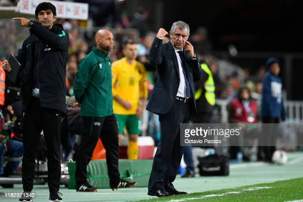Head coach Fernando Santos of Portugal during the UEFA Euro 2020 Qualifier match between Portugal and Lithuania at Algarve Stadium on November 14,...