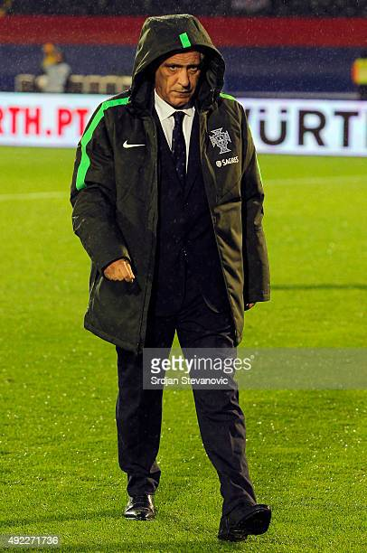 Head coach Fernando Santos of Portugal looks on prior during the Euro 2016 qualifying football match between Serbia and Portugal at the Stadium FC...