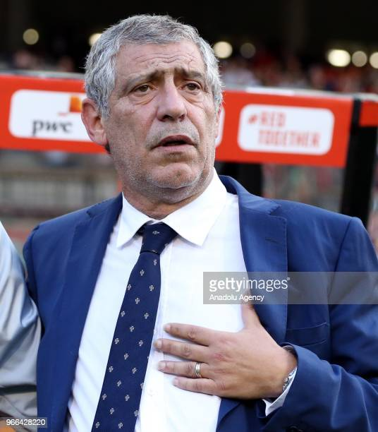 Head coach Fernando Santos of Portugal national football team looks on during a FIFA international friendly match between Belgium and Portugal as...