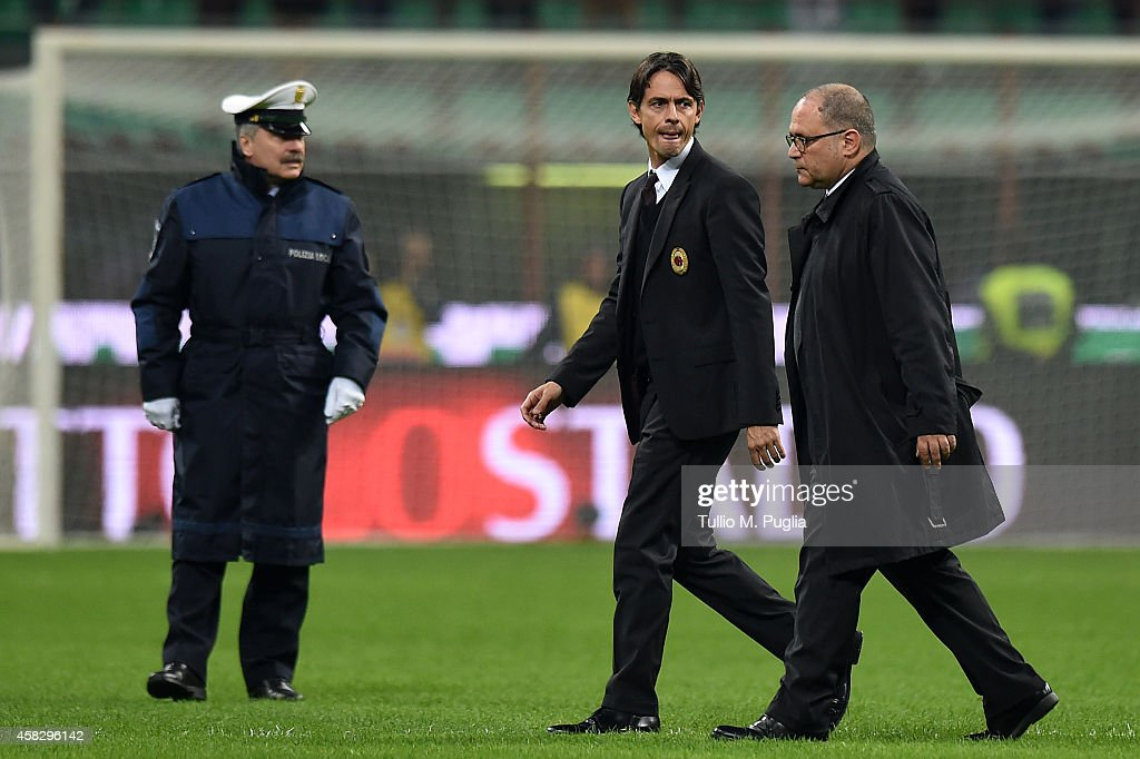 Head coach Filippo Inzaghi of Milan looks on after losing the Serie A match between AC Milan and US Citta di Palermo at Stadio Giuseppe Meazza on November 2, 2014 in Milan, Italy.