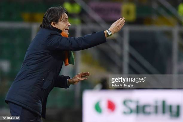 Head coach Filippo Inzaghi of Venezia issues instructions during the Serie B match between US Citta di Palermo and FC Venezia at Stadio Renzo Barbera...