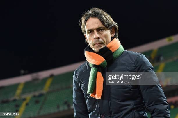 Head coach Filippo Inzaghi of Venezia looks on during the Serie B match between US Citta di Palermo and FC Venezia at Stadio Renzo Barbera on...