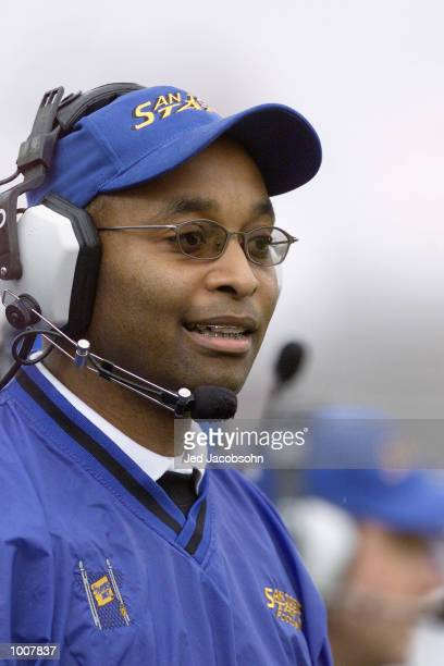 Head Coach Fitz Hill of the San Jose State Spartans calls the play from the sidelne during the NCAA game against the Stanford Cardinal at Spartan...