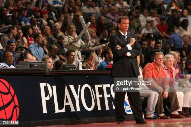 Head Coach Flip Saunders of the Detroit Pistons stands on the sidelines during the 2007 NBA Playoffs at the Palace of Auburn Hills April 21 2007 in...