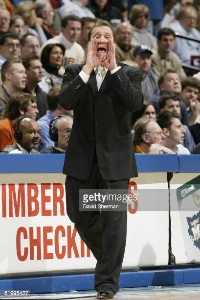 Head Coach Flip Saunders of the Minnesota Timberwolves calls a play during the game with the Phoenix Suns on January 4 2005 at the Target Center in...