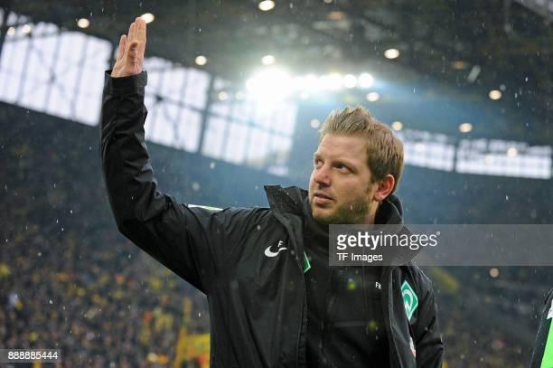 Head coach Florian Kohfeldt of Bremen gestures prior to the Bundesliga match between Borussia Dortmund and SV Werder Bremen at Signal Iduna Park on...
