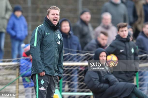 Head coach Florian Kohfeldt of Bremen looks on during the 3. Liga match between Werder Bremen II and SC Paderborn at Weserstadionon February 18, 2017...