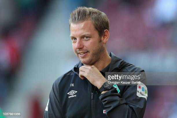 Head coach Florian Kohfeldt of Bremen looks on prior to the Bundesliga match between FC Augsburg and SV Werder Bremen at WWKArena on September 22...